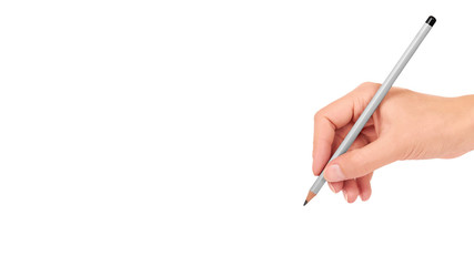 Gray pencil in hand for drawing isolated on white background. copy space, template