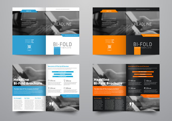 Design a bi-fold brochure with a place for photos in a minimalistic style.