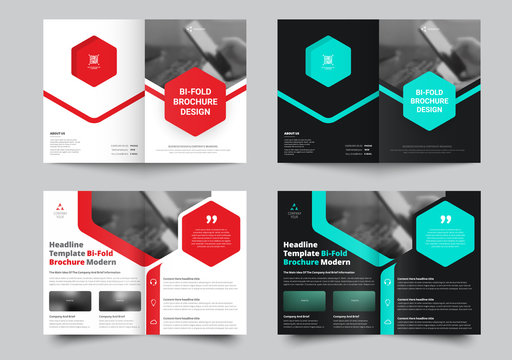 Vector bi-fold brochure for with a place for photos and hexagonal colored elements.