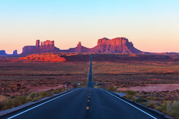 Scenic view of Monument Valley in Utah at sunrise,  United States.