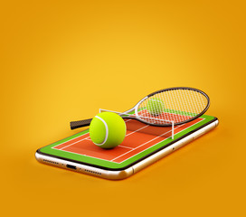Unusual 3d illustration of a tennis ball and racket on court on a smartphone screen. Watching tennis and betting online concept
