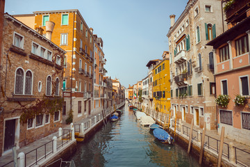 Papiers peints Canal Venice, beautiful romantic italian city on sea with great canal and gondolas. View of venetian narrow canal. Venice is a popular tourist destination of Europe.