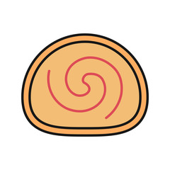 Swiss roll color icon