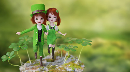 3d render fantasy illustration of a Leprechaun men and girl dancing