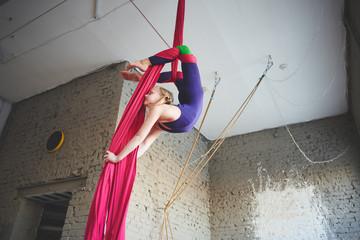 Aerial silk,Teen girl doing gymnastics