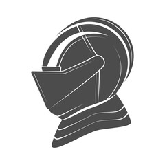 Head of a knight in armor.  illustration.
