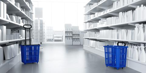 Gang im Supermarkt mit Produkten im Regal