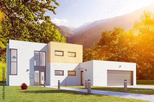 kubus hausbau mit haus und garage stockfotos und lizenzfreie bilder auf bild. Black Bedroom Furniture Sets. Home Design Ideas