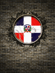 Old Dominican Republic flag in brick wall
