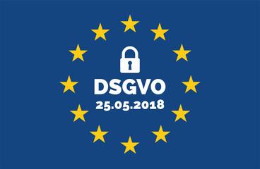 DSGVO Datenschutz-Grundverordnung Konzept Europa Flagge