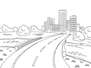 Road bridge graphic black white landscape city sketch illustration vector