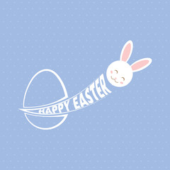 Happy Easter greeting card with egg and rabbit.