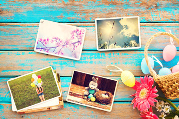 Photo album in remembrance and nostalgia of Happy easter day on wood table  backgroud. Holiday in spring season. vintage and retro style, top view
