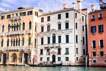 Landmark with architecture buildings in Venice, Italy. View point from the boat on the Grand Canal. Travel background. Architecture background. Image with copy space.