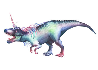 Watercolor tyrannosaurus with unicorn horn and mane.