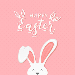Pink background with text Happy Easter and rabbit ears