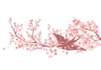 swallow bird among blooming sakura branches - spring season cherry tree vector design