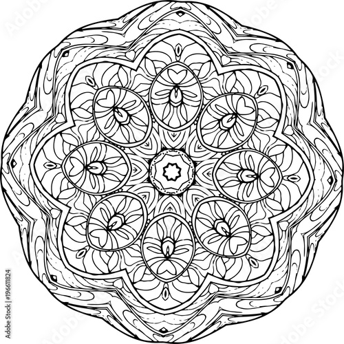 An Illustration Of A Black And White Mandala Cosmic Flower Of Life