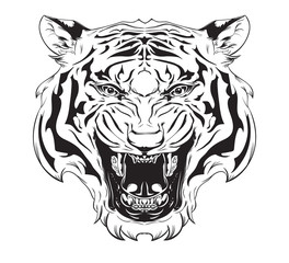 Tiger Tattoo Line Art