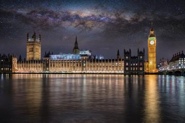 Der Westminster Palast und Big Ben in London bei Nacht unter Sternenhimmel und der Milchstraße