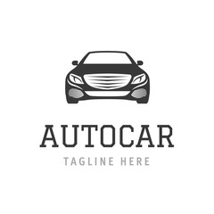 Logo autocar concept. Design of vehicle company sign. Vector illustration automobile symbol for branding.