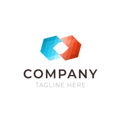 Company hexagon logo. Template business identity icon isolated. Abstract symbol for branding.