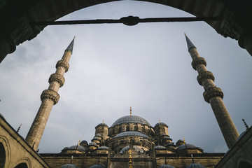 low angle view through arch on suleymaniye mosque in Istanbul, Turkey
