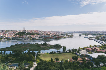 ISTANBUL, TURKEY - OCTOBER 09, 2015: beautiful view of city buildings and river