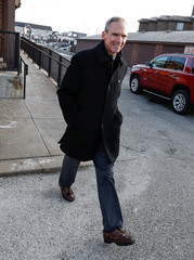 U.S. Congressman Daniel Lipinski leaves after campaigning for re-election at the Chicago Ridge Metra commuter train station in Chicago Ridge