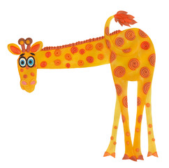 plasticine giraffe who has turned the back