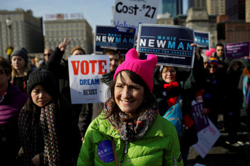 Illinois' 3rd Congressional District candidate for Congress, Marie Newman, attends the Women's March in Chicago