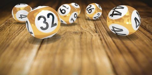 Composite image of lottery balls with numbers