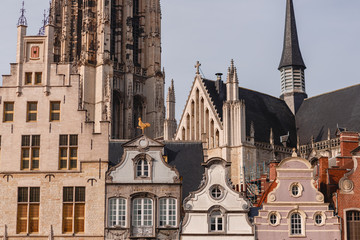 beautiful architecture of houses and rooftops in mechelen, belgium