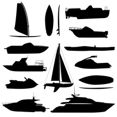 Sea ship silhouettes. Boats adapted to the open sea for coastal shipping, trade and travelling. Vector flat style cartoon illustration isolated on white background.