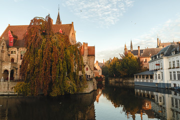 view of canal and houses in brugge, belgium