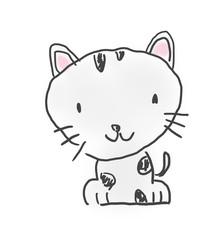 猫ちゃん。かわいいゆるい動物キャラ子供の落書き風イラスト