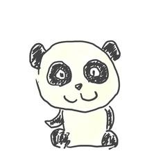 パンダくん。かわいいゆるい動物キャラ子供の落書き風イラスト