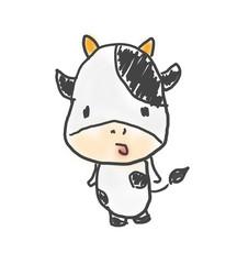 うしくん。かわいいゆるい動物キャラ子供の落書き風イラスト