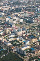 Top view the city of Nizhnevartovsk in spring