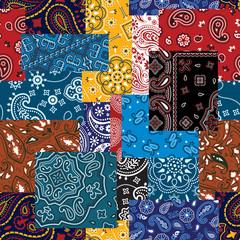 Bandana paisley fabric patchwork vector seamless pattern