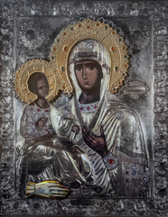 Church icon of Mother of God (Mary) and child (Jesus Christ)