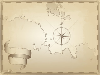 vector illustration of an old navigation chart on yellowed paper. ocean, lakes, continent and Islands. ribbon wave. an image of a compass pointing to the North. the lined border