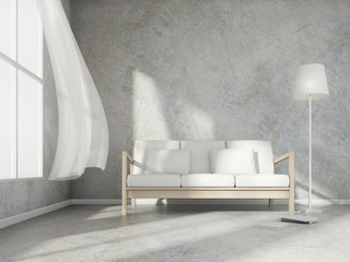 3D rendering scene of minimal room style with wood sofa and white lamp and book on light grey concrete floor and wall,3d rendering