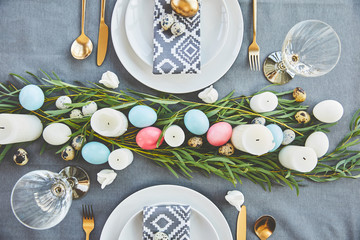 top view of easter table decoration