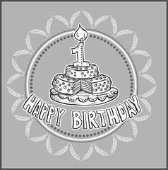 fijne verjaardag - taart met kaarsje in vorm van cijfer 1
