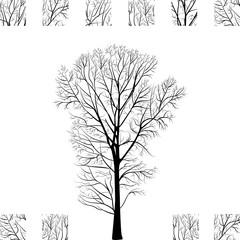Black Tree Hand Drawn Silhouette