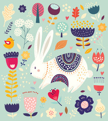 Fototapete - Baby pattern with bunny. Big spring Easter collection of flowers, leaves, birds, bunny and spring symbols