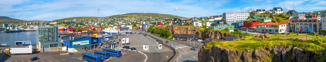 Panoramic view of capital Torshavn of Faroe islands