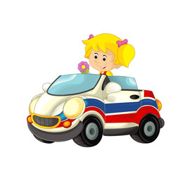 cartoon scene with happy child - girl in toy ambulance car on white background - illustration for children