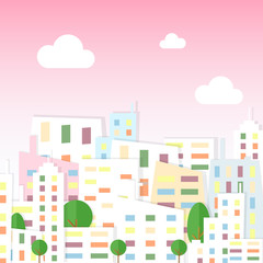 Vector illustration of paper city view in cartoon flat style. Town with houses and trees on pink sky background.